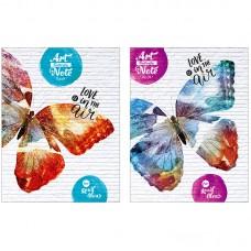 Блокнот А5 64л ЛАЙТ BG Art butterfly, матовая ламинация, блестки