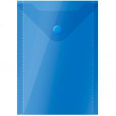 Папка-конверт на кнопке А6 (105*148мм) OfficeSpace, 150мкм, полупрозрачная, синяя