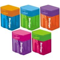 Точилка пластиковая Berlingo Fuze, 1 отверстие, контейнер, ассорти