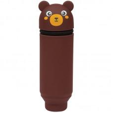 Пенал мягкий 200*55*50 Berlingo Bear, силикон, коричневый