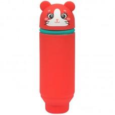 Пенал мягкий 200*55*50 Berlingo Mouse, силикон, коралловый