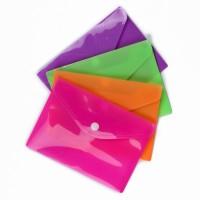 Папка-конверт на кнопке А6 180мкр рифленая (11,5*16см), цвет в ассорт.