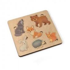 Игра развивающая деревянная Вкладыши - Лесные животные, 21х21см