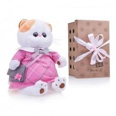 Мягкая игрушка Кошечка Лили в розовом платье с серой сумочкой, 24 см