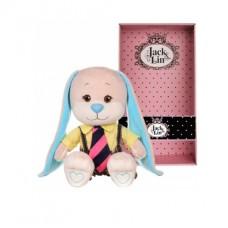 Мягкая игрушка Jack&Lin Зайчик в желтой рубашке и полосатом галстуке, 25 см, в коробке