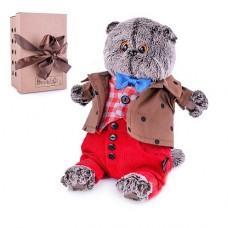 Мягкая игрушка Кот Басик в костюме с бантом, 19 см