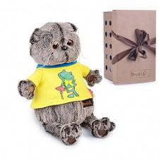 Мягкая игрушка Basik&Ko Кот Басик в футболке с принтом Лягушонок, 25 см