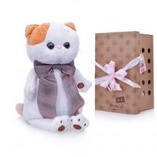 Мягкая игрушка BUDI BASA Кошечка Ли-Ли с атласным коричневым бантом 24 см