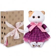 Мягкая игрушка BUDI BASA Кошечка Ли-Ли в платье в клетку, 24 см