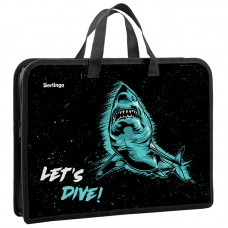 Папка с ручками А4 340*245*40 Berlingo Shark, 1 отделение, пластик, на молнии