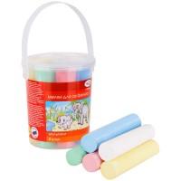 Мелки цветные 8шт. 5цв. для асфальта Гамма Мультики, круглые, пластиковое ведро
