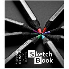 Скетчбук-блокнот 30л А5 на гребне Карандаши, 120г/м2, черная, УФ-лак, ТВИН-лак, тисн.фольг.