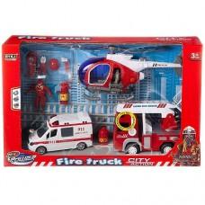 Игровой набор Служба спасения (пожарная машина, скорая помощь, вертолет, аксессуары), со световыми и звуковыми эффектами, в коробке