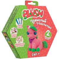 Набор для лепки: пушистый пластилин Plush 2цв.*80г (розовый, зеленый), дерев. детали, стеки