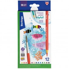 Цветные карандаши акварельные 12 цв. + кисть Berlingo SuperSoft. Рыбки, трехгран., заточен.