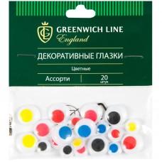 Материал декоративный Greenwich Line Глазки, цветные, ассорти, 20шт.