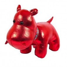 Мягкая игрушка Металлик Бегемот красный, 15 см