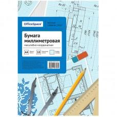 Бумага масштабно-координатная А4 10 л OfficeSpace, голубая, в папке