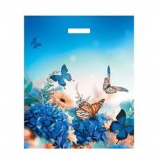 Пакет 40*50 см 45 мкм Бархатные бабочки, п/э с вырубной ручкой