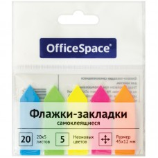 Флажки-закладки OfficeSpace, 45*12мм, 20л*5 неоновых цветов