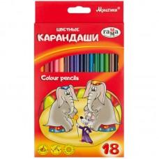 Цветные карандаши 18 цв. Гамма Мультики, трехгранные, заточен.
