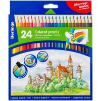 Цветные карандаши 24 цв. Berlingo Замки, заточен., картон. уп.