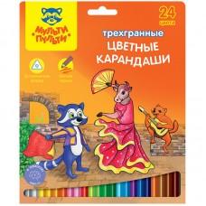 Цветные карандаши 24 цв. Мульти-Пульти Енот в Испании, трехгран., заточен.