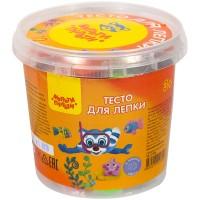 Тесто для лепки Мульти-Пульти Приключения Енота, 12 цветов*15г, пластиковое ведро, 2 формочки