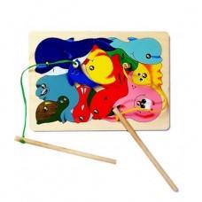 Игра-пазл деревянная с магнитами Рыбалка, 11 деталей, 2 удочки