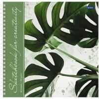Скетчбук-тетрадь 60л 210*210мм на гребне Hatber Тропические листья, 120г/м2, с твердой обложкой