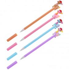 Ручка гелевая синяя 0,7мм Оленята, ассорти