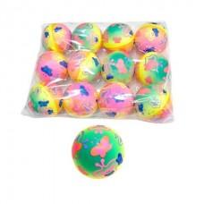 Мяч 6,3см Бабочки радужные, полиуретан, в ассорт.