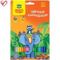 Цветные карандаши 36 цв. Мульти-Пульти Енот в Индии, заточен.