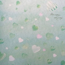 Бумага упаковочная глянцевая Зелёные сердечки, 50*70 см