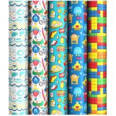Бумага упаковочная глянц. 70*100 см ArtSpace Для мальчиков, 1 лист, 80г/м2, ассорти