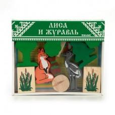 Деревянный конструктор Сказки - Лиса и журавль, 14 деталей