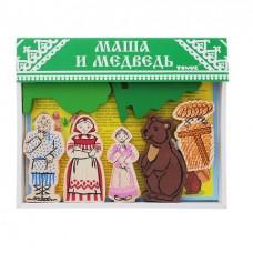 Деревянный конструктор Сказки - Маша и медведь, 17 деталей