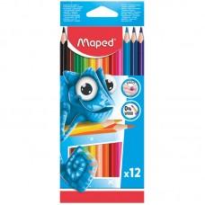 Цветные карандаши 12 цв. Maped пластиковые, трехгран., заточен.