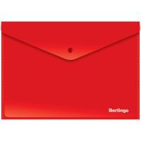 Папка-конверт на кнопке А4 Berlingo, 180мкм, непрозрачная, красная