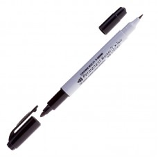 Маркер перманентный (черный) двухсторонний Crown Multi Marker Twin, пулевидный, 2мм/1мм