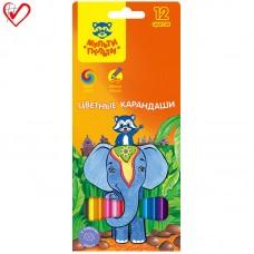 Цветные карандаши 12 цв. Мульти-Пульти Енот в Индии, заточен.