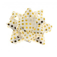 Бант-звезда №5 Золотой горошек, цвет белый