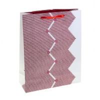 Пакет подар. (средн.) ламинированный Пуговки, цвет бордовый