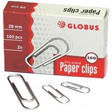 Скрепки 28 мм, Globus, 100 шт., оцинкованные