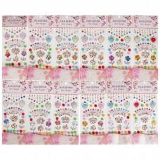 Наклейка пластик стразы Корона, цветы и сердечки, 26*10 см