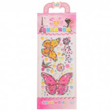Наклейка пластик стразы Бабочки, 2 листа 28*10,5 см