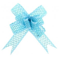 Бант-бабочка №2,3 Блестящая сетка, цвет голубой