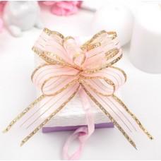 Бант-бабочка №2,5 Золотой кант, цвет розовый