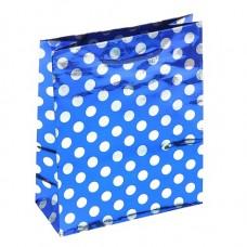 Пакет подар. (средн.) Горох на синем, 18*21,5*7 см, голографический