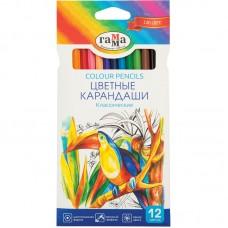 Цветные карандаши 12 цв. Гамма Классические, заточен.
